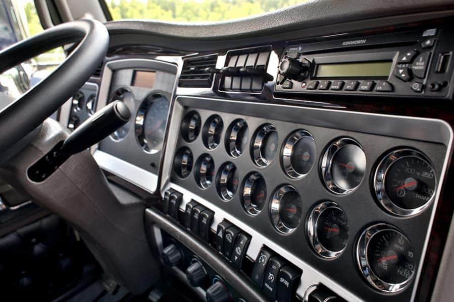 Black interior of a truck