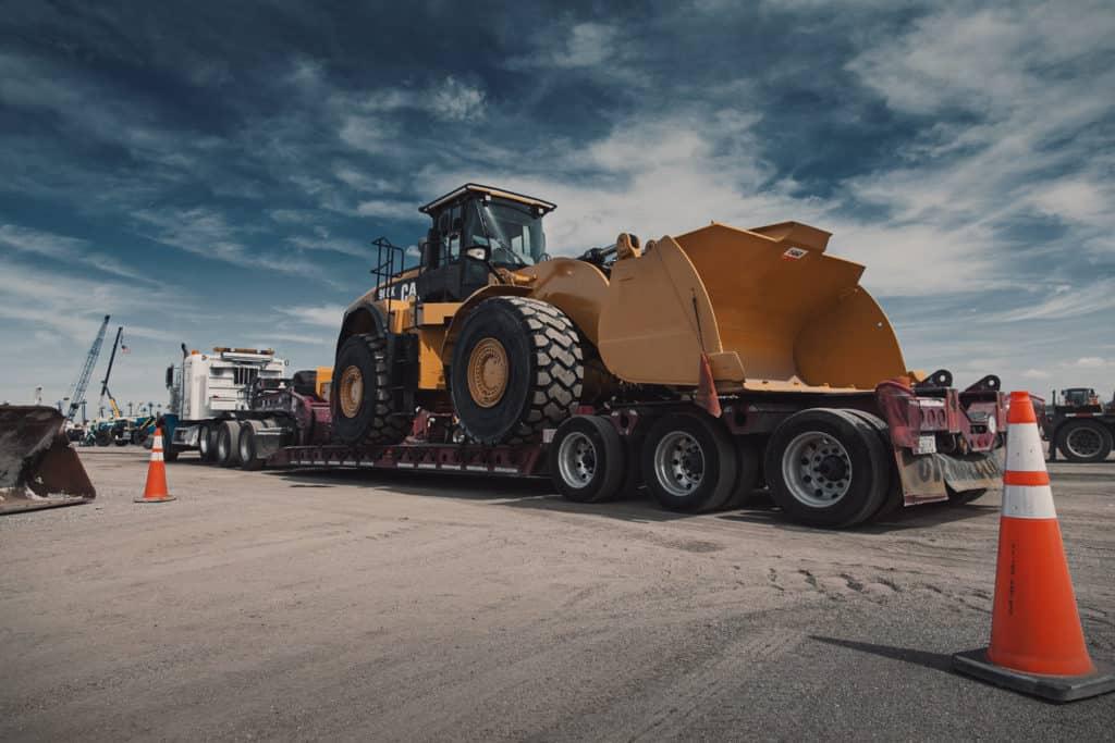 A truck hauling a superload
