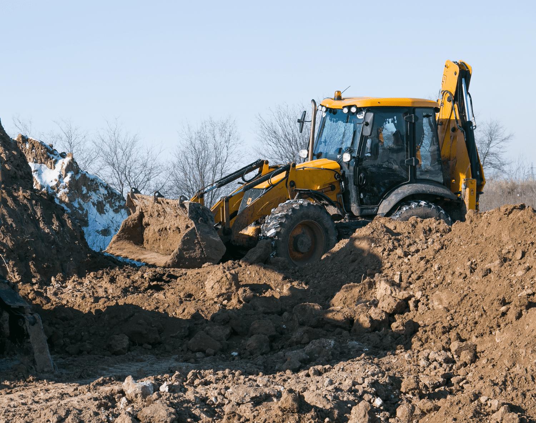 backhoe in the dirt