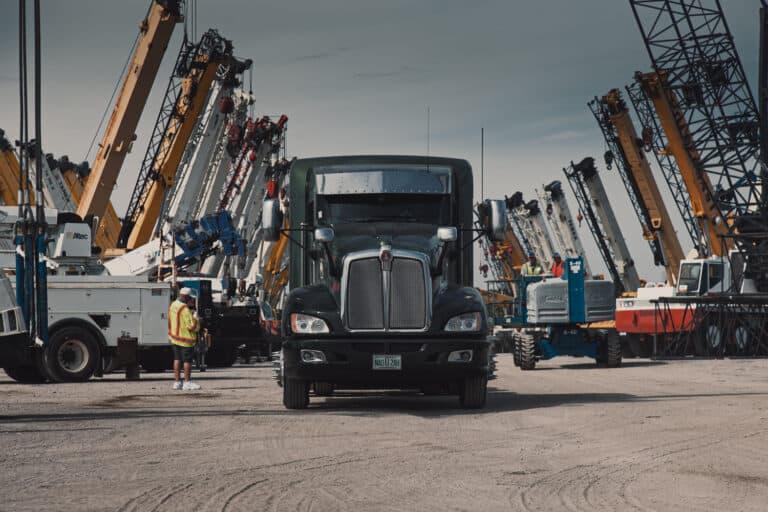 crane and truck